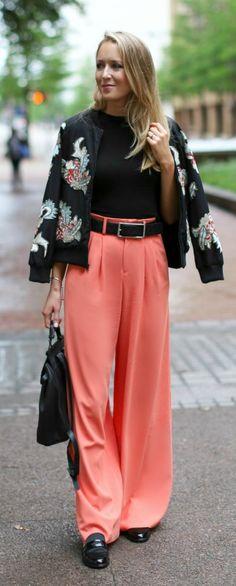 coral orange pink silk wide leg pleated high waisted pants black accessories, stuart weitzman collegiate black sandal loafers, crop top, backpack + embellished embroidered silk bomber jacket