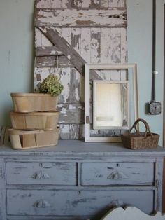 A great start to a booth display. Imagine a longer dresser with some of the drawers left open for product to spill out!