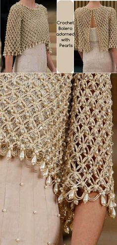 Crochet Bolero adorned with Pearls | 8 Trends