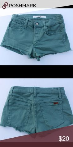 Joes Jeans Green cutoff Jean shorts size 26 26 in waist. Excellent condition! Smoke free pet free home Joe's Jeans Shorts Jean Shorts