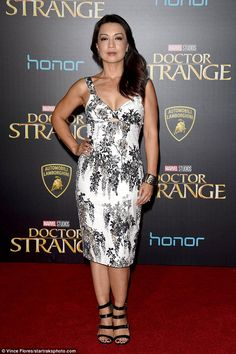 Monochrome: Former E. star Ming-Na Wen posed for photos in a white dress with floral bla. Lamborghini, Melinda May, Ming Na Wen, Elizabeth Hurley, Looking Dapper, Poses For Photos, Got The Look, Beautiful Celebrities, Girl Power
