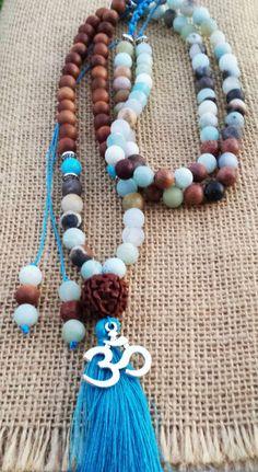 108 Mala Necklace Yoga Meditation Beaded Om Necklaces Sandalwood Amazonite Amethyst Necklace Counting Mala Buddhist Spiritiual Mala Boho