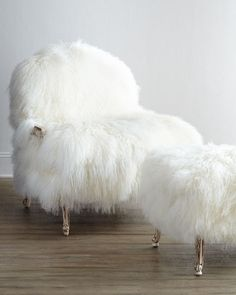 { sheepskin chair and ottoman }