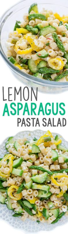 Lemon Asparagus Pasta Salad with Cucumber and Feta :: Easy enough to toss together in a hurry, this tasty pasta salad is great for busy weekdays, lazy weekends, and all your summer parties and barbecues!