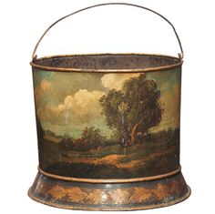 French Scenic Painted Tole Peat Bucket with handle. Exceptional painting. France, ca. 1780 -  Kevin Stone Antiques, New Orleans, LA