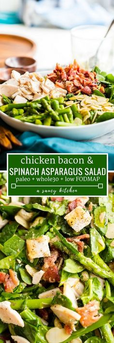 Chicken Bacon Spinach & Asparagus Salad - loaded with sliced chicken, crispy bacon pieces, slivered almonds, and tender stalks of asparagus lightly dressed in a simple mustard vinaigrette | Posted By: DebbieNet.com