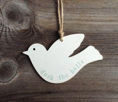 Wooden 'deck the halls' Peace Dove bird shape Chritmas tree decoration