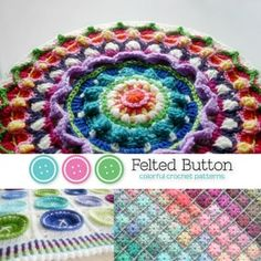 Felted Button colorful #crochet