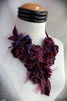 SHIRAZ Burgundy Purple Beaded Textile Statement by carlafoxdesign