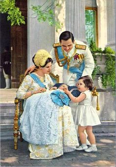 King Constantin II of Greece with his wife Queen Anne-Marie and two of their children; Princess Alexia and Prince Pavlos