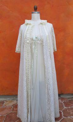 Vintage 50s 60s Ivory, Pale Green 2 Piece Peignoir Set. Lingerie Dress + Robe. Hollywood Vassarette. Lace. Negligee Burlesque. Sz 32 by SweetPickinsShop