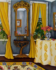 Reflections In The Key Of Grey. Catherine Nolin, makes great interior paintings! Interior Exterior, Interior Paint, Illustrations, Illustration Art, Yellow Curtains, Mellow Yellow, Mustard Yellow, New Print, Room Paint