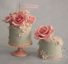 Double Roses and Sweet Williams Cakes ~ sugar paste flowers and sugar veil lace  ~ all edible
