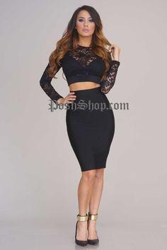 Charlize Bandage Skirt - Black - Bandage Dress - Clothing
