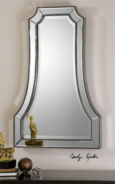 Uttermost Cattaneo Silver Beaded Mirror 26 W X 40 H X 2 D (in)