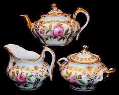 mid 1800 Rococo 3-pc porcelain tea set, cabaret, Old Paris,France,botonical,gilt