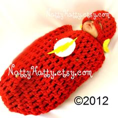 Flash comic Baby handmade crochet Set Hat and cocoon by NattyHatty, $44.99
