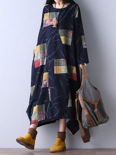 O-Newe Vintage Color Block Printed Long Sleeve Ball Gown Maxi Dress