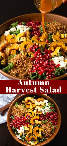 This Autumn Harvest Salad uses the beautiful produce available as the months start to get colder, such as delicata squash, […] Healthy Salad Recipes, Vegetarian Recipes, Cooking Recipes, Clean Eating, Healthy Eating, Harvest Salad, Autumn Harvest, Soup And Salad, Fall Recipes