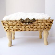Natural Cream and Wicker Pet bed with Soft Chenille Fabric and Wooden Legs - for Cats or Small dogs on Etsy, $75.00