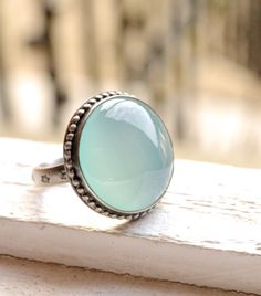 Aqua Chalcedony Ring Handcrafted in Oxidized by EONDesignJewelry
