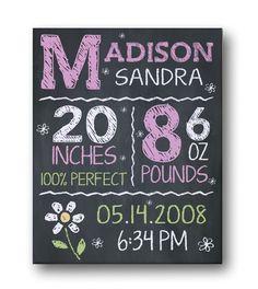 Chalkboard Birth Stats Canvas - Pink