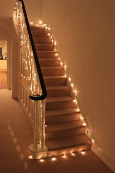 Love the fairy lights on my stairs!