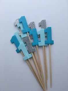 Baby Boy First Birthday Number One Cupcake Toppers Blue And Silver  | eBay