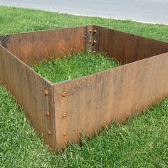 Small Corten Steel Planter Box with rusty patina