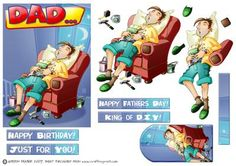 Sleeping DIY Dad  on Craftsuprint designed by Gordon Fraser - Whoops! Dad caught sleeping on the job again! A great, fun, image showing a snoring Dad, fast asleep in his favourite chair....unused paintbrush in hand! Easy decoupage to add depth, various sentiment tiles, a blank tile and a matching gift tag. Great for Birthdays, Fathers Day or any other occasion!  - Now available for download!