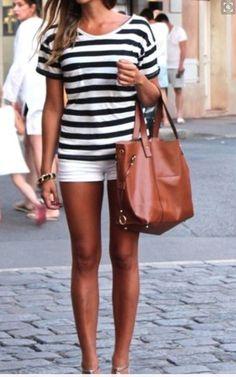 White denim shorts, black and white tshirt. Saddle colored bag. Stitch fix 2016 Summer - handbag shopping online, online shopping of handbags, pink designer purses *sponsored https://www.pinterest.com/purses_handbags/ https://www.pinterest.com/explore/handbags/ https://www.pinterest.com/purses_handbags/cheap-handbags/ http://www1.macys.com/shop/handbags-accessories?id=26846
