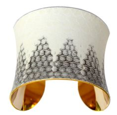 Snakeskin Cuff Bracelet  Gold Lined White Honeycomb by UNEARTHED, $70.00