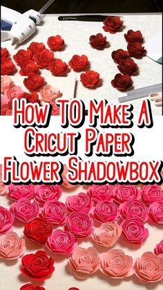 How To Make A Shadow Box With Cricut Paper Flowers You learned How To Make Paper Rose now what to do with them. One of my favorite paper rose projects is the Ombre paper flower shadow box. Flower Shadow Box, Diy Shadow Box, Shadow Box Frames, Rolled Paper Flowers, Paper Flowers Craft, Rolled Paper Art, Bouquet Cadeau, 3d Laser Printer, Cricut Craft Room