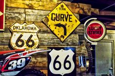 https://flic.kr/p/qUYuXD | Route 66 Signs | Found at a motorcycle museum on Route 66 in Oklahoma.