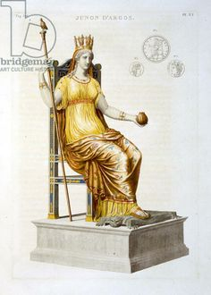 Seated Statue of Juno of Argos, illustration from 'General study of Greek architecture and sculpture, pub. Firmin-Didot, Paris, 1814 (colour litho), French School, (19th century) / Private Collection / The Stapleton Collection / The Bridgeman Art Library