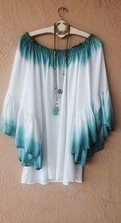 Image of Hippie Gypsy Beach boho ombre off shoulder ruffle sleeve tunic