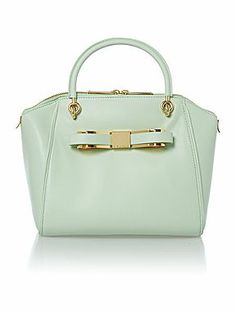 Ted Baker small green bow leather doctors bag