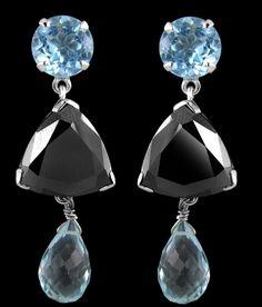 BLACK DIAMOND DANGLER EARRINGS WITH BLUE TOPAZ GEMSTONES Black Diamond Earrings, Pearl Earrings, Drop Earrings, Topaz Gemstone, Colored Diamonds, Blue Topaz, Gemstones, Pearl Studs, Gems