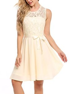 Beyove Women Sleeveless Lace Fit and Flare Cocktail Party Dress With Belt