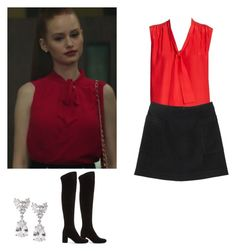 """""""Cheryl Blossom outfit with a skirt and knee boots - riverdale"""" by shadyannon ❤ liked on Polyvore featuring Monki, Yves Saint Laurent and Fantasia by DeSerio"""