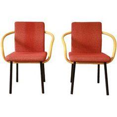 Ettore Sottsass Knoll Mandarin Armchairs- A Pair