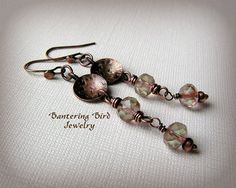 Long Pale Coppery Pink Beaded Dangle Earrings Hammered Antiqued Copper Disks and Neutral Faceted Czech Glass Beads, Artisan Copper Jewelry