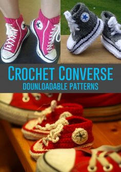 You'll be head over heels for this Crochet Converse Slippers Free Pattern and we have lots of inspiration plus a video tutorial to show you how. Diy Converse, Converse Slippers, Crochet Converse, Crochet Gratis, Crochet Baby Booties, Crochet Slippers, Knit Crochet, Baby Slippers, Free Crochet