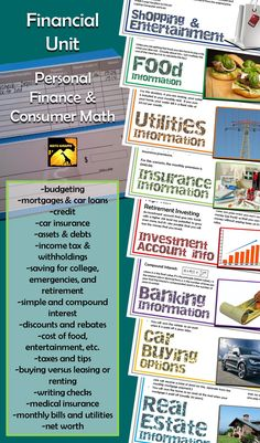Finance for middle and high school - budgeting, credit, taxes, interest, and more!  Huge unit for a consumer math fun day or for covering TEKS standards