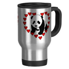 Show your panda bear some love with adorable black and white pandas circled with red hearts. Perfect for Valentine's Day, animal lovers and fun personalized gifts for family and friends.
