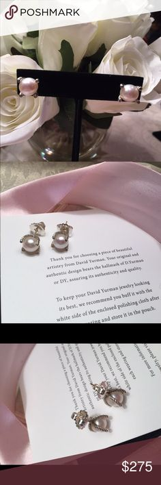 David Yurman pearl earrings DY hallmark 925 and signature pouch included.  These are adorable.  6mm and timeless David Yurman Jewelry Earrings