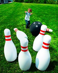 "YinArts Giant Inflatable Bowling Set - Can be played indoor or outdoor - Gift idea for kids - Includes a giant bowling ball and 6 giant inflatable bowling pins that are approximately 29"" tall. A very funny gift for kids! - $22.91"