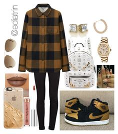 """""""9.14.15 """"No Role Modlez"""" by ediatrin"""" by ediatrin on Polyvore featuring MCM, Anastasia Beverly Hills, Casetify, J Brand, Uniqlo, FOSSIL, Forever 21 and Ray-Ban"""