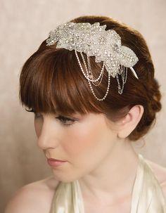 Silver Crystal Bridal Hair Piece, Bridal Headband, Rhinestone Headband, Crystal Dangle Chain, Art Deco Headpiece - FLORENCE