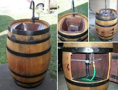 Turn a wooden keg into a outdoor portable sink.